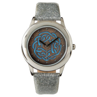 Celtic knot bright blue on leather digital art watch