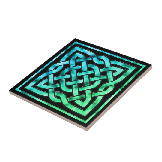 Celtic Knot Ceramic Tile: Square Blue Green Design