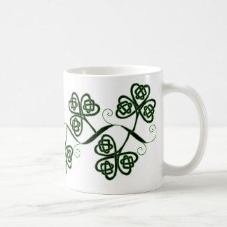 Celtic knot clover mug in black and green