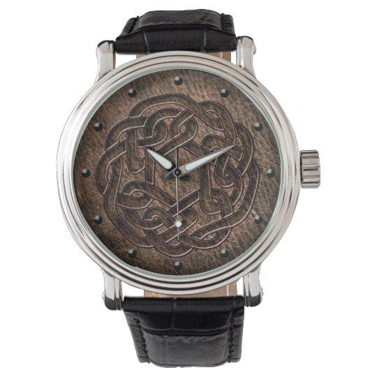 Celtic knot dark embossed on leather digital art