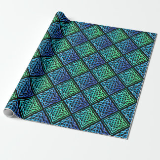 Celtic Knot Diamond Blue Green Tiled Design 2 Wrapping Paper