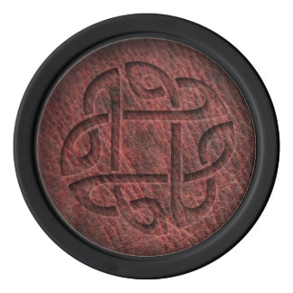 Celtic knot digitally embossed on red leather poker chips