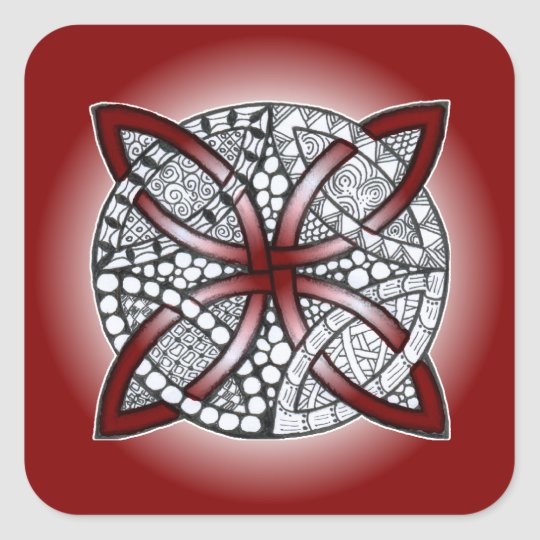 Celtic Knot Doodle Maroon Red Square Sticker