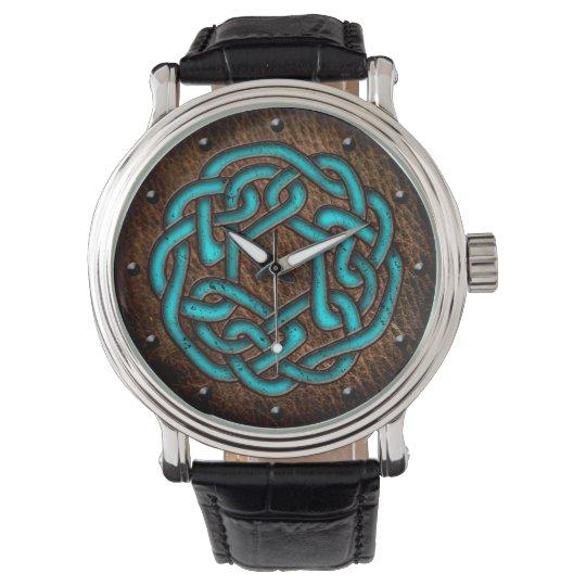 Celtic knot enameled blue on leather digital art