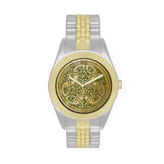 Celtic Knot Gold Birds & Green - Watch