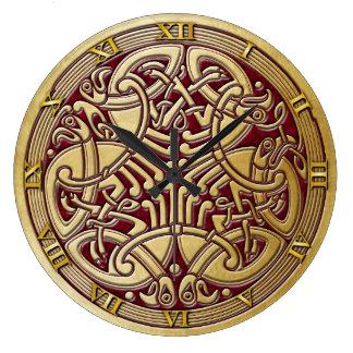 Celtic Knot Gold Birds & Red-Rnd. Clock