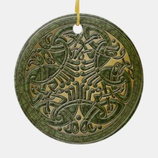 Celtic Knot Green Birds & Gold-Ornament Round Ceramic Decoration