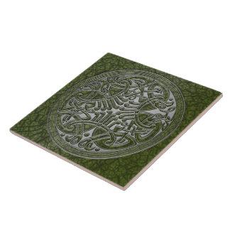Celtic Knot Green Birds & Silver-Trivet Large Square Tile