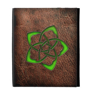 Celtic knot green flower on leather iPad case