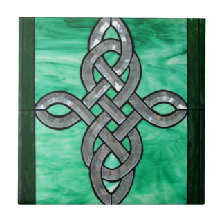 celtic knot green silver stained Glass Tile