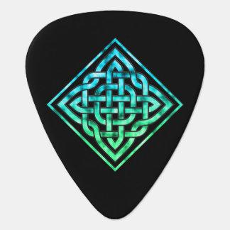 Celtic Knot Guitar Pick: Diamond Blue Green Design Guitar Pick