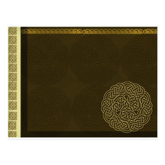 Celtic knot in dark brown with gold accent post card