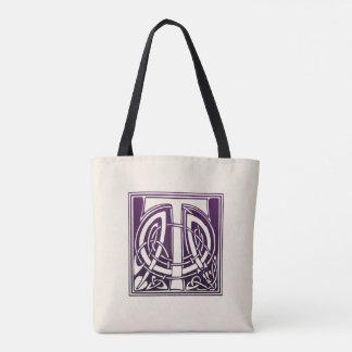 Celtic Knot Initial - T - Purple Tote Bag