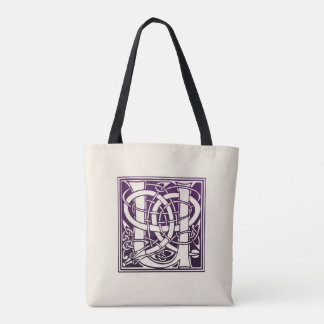 Celtic Knot Initial - U - Purple Tote Bag