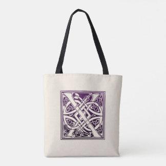 Celtic Knot Initial - X - Purple Tote Bag