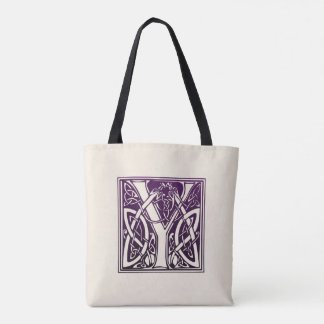 Celtic Knot Initial - Y - Purple Tote Bag