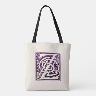 Celtic Knot Initial - Z - Purple Tote Bag