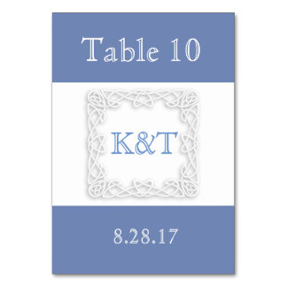 Celtic Knot Initials - Customize Background color Table Card
