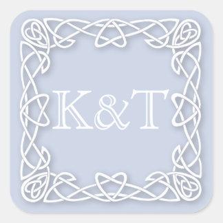 Celtic Knot Initials - Light Blue Square Sticker