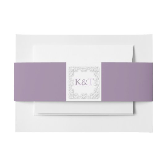 Celtic Knot Initials - Lilac Invitation Belly Band