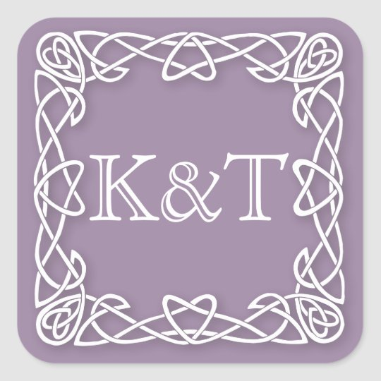 Celtic Knot Initials - Lilac Square Sticker