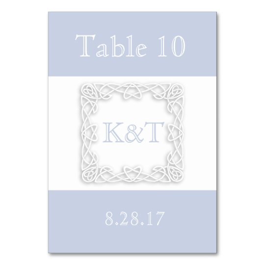 Celtic Knot Initials - Table card - light blue