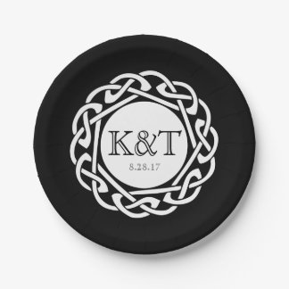 Celtic Knot Initials -  Wedding Plate black