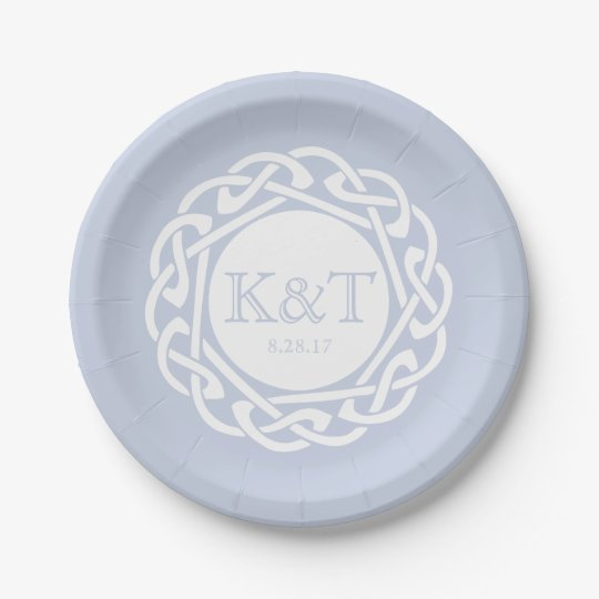 Celtic Knot Initials -  Wedding Plate light blue 7 Inch Paper Plate