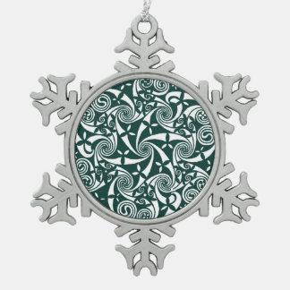Celtic Knot Medallion Round Design, Irish Artwork Pewter Snowflake Decoration