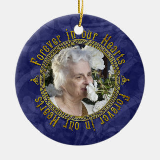 Celtic Knot Navy Blue Memorial Photo Christmas Christmas Ornament