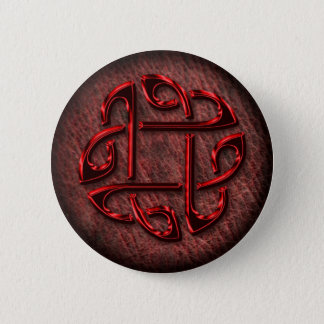 Celtic knot on genuine leather 6 cm round badge
