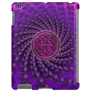 Celtic Knot on Royal Fractal Swirl iPad Case