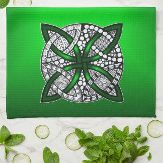Celtic Knot Original Art Green Tea Towel