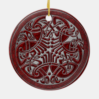 Celtic Knot Red Birds & Silver - Keepsake Christmas Ornament