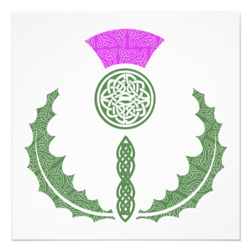 Celtic Knot Scottish Thistle Save the Date Personalized Invitation