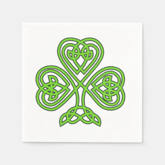 Celtic Knot Shamrock on White Disposable Serviette