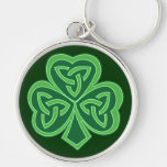 Celtic Knot Shamrock Silver-Colored Round Key Ring