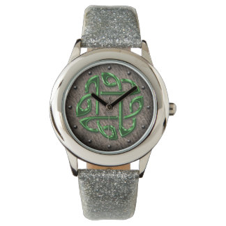Celtic knot shiny green on leather digital art watch