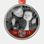 Celtic Knot Triskelion Red Christmas Photo Ornam Silver-Colored Round Decoration