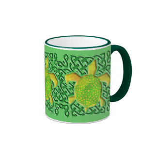 Celtic Knot Turtle (Green) Mugs