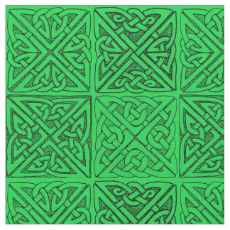 Celtic Knots  Dark Green Fabric