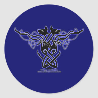 Celtic Knotwok Hounds Stickers, Blue Round Sticker