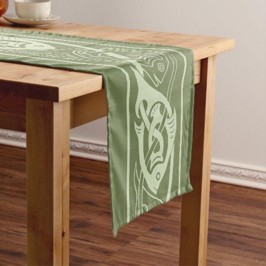 Celtic Knotwork Fish in Green Short Table Runner