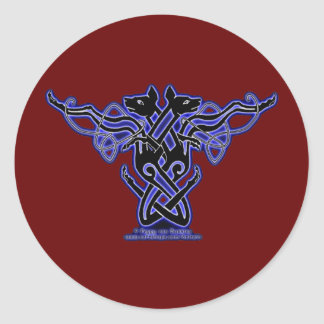 Celtic Knotwork Hound Stickers, Burgundy Round Sticker