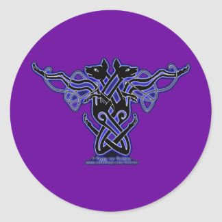 Celtic Knotwork Hound Stickers, Purple Round Sticker