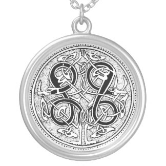 Celtic knotwork silver plated necklace
