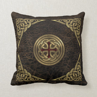 Celtic leather throw pillow