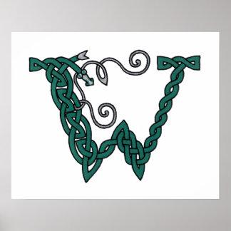 Celtic Letter W print