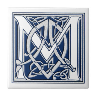 Celtic M Monogram Small Square Tile