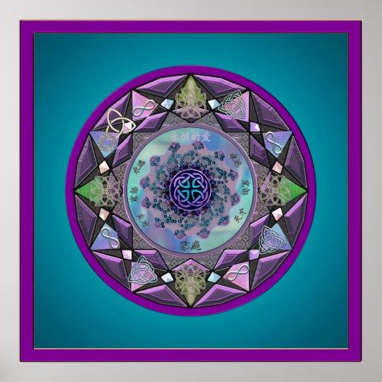 Celtic Mandala Framed in Cool Hues Poster